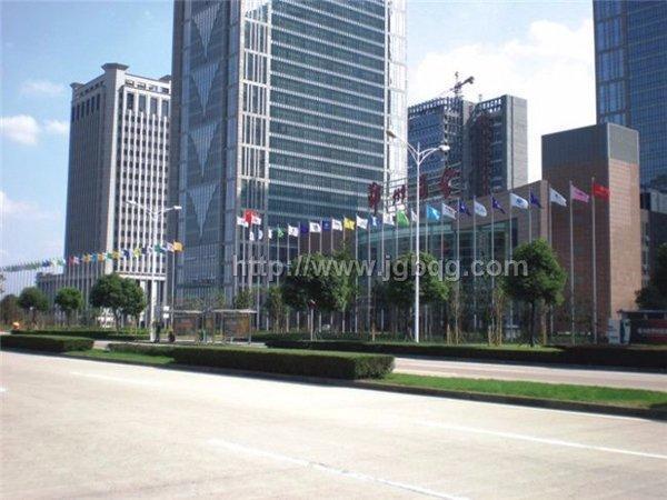 宁波鄞州商会大厦锥形旗杆15米旗杆案例